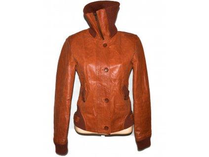 KOŽENÁ dámská cihlová bunda na zip VERO MODA M