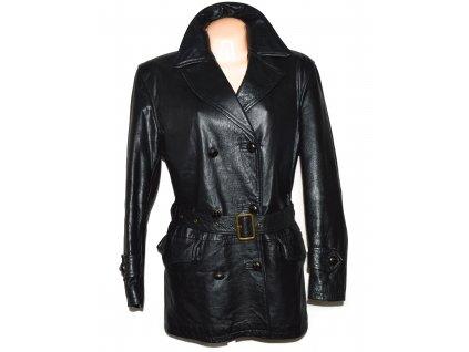 KOŽENÝ dámský černý měkký zateplený kabát s páskem Conbipel 44