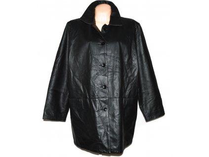 KOŽENÝ dámský černý měkký zateplený kabát XXXL