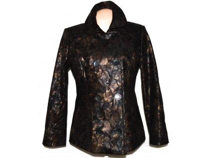Dámský vzorovaný hnědý kabát Yves Tanguy L