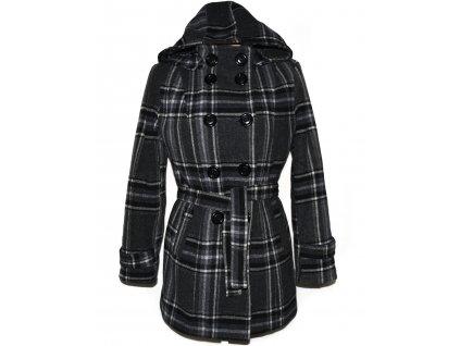 Kašmírový dámský šedočerný zateplený kabát s páskem a kapucí Carina L