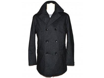 Pánský zimní šedočerný melírovaný kabát Blažek 50