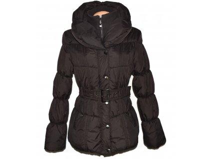 Dámský prošívaný hnědý kabát s páskem a límcem Good Friends L