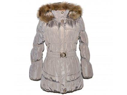 Dámský béžový prošívaný kabát s kapucí s pravým kožíškem Nature XL