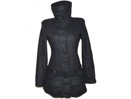 Vlněný (67%) dámský šedý kabát s páskem BEBE S