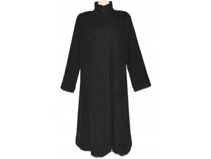 Vlněný (70%) dámský šedočerný dlouhý kabát Depeche XXXL