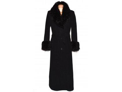 Vlněný (70%) dámský dlouhý šedočerný kabát s kožíškem Lantea 42