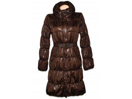 Dámský prošívaný hnědý kabát s páskem H&M 36