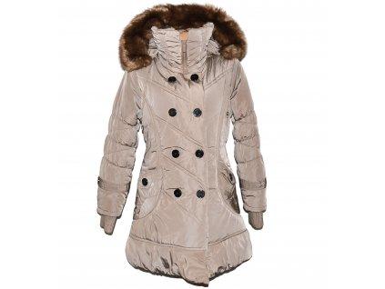 Dámský béžový zimní prošívaný kabát s kapucí L/40