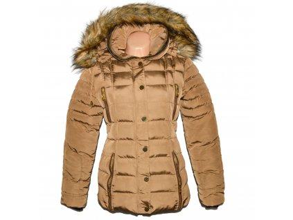 Dámský karamelový prošívaný kabát s kapucí M