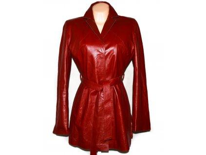 KOŽENÝ dámský červený měkký kabát s páskem Sergio Morini L