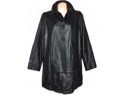 KOŽENÝ dámský černý měkký zateplený kabát Fabiani XXXL - 48
