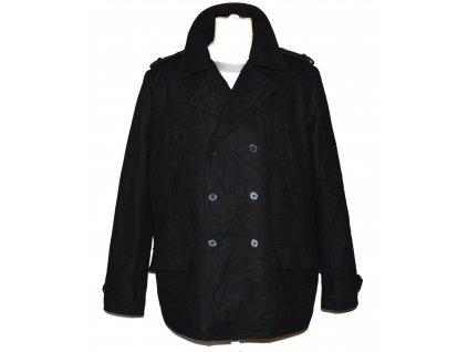 Vlněný (63%) pánský černý zateplený kabát CELIO XL