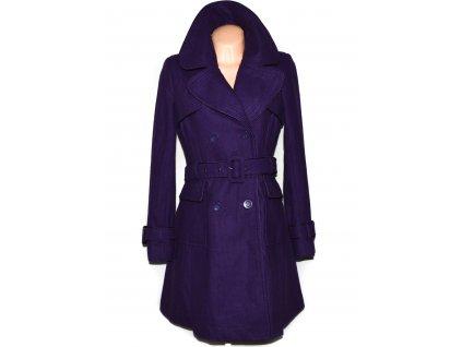 Vlněný (49%) dámský fialový kabát s páskem WAREHOUSE L