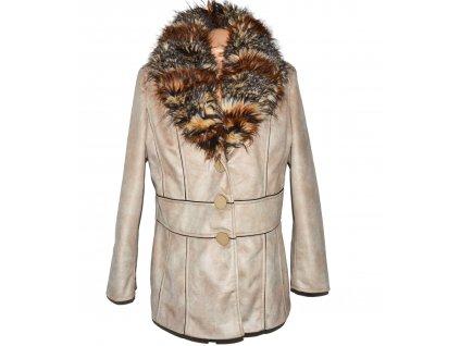 Dámský béžový kabát s kožíšem Texhal 44