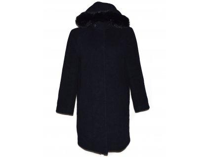 Vlněný (70%) dámský kabát s kapucí s pravým kožíškem XXL