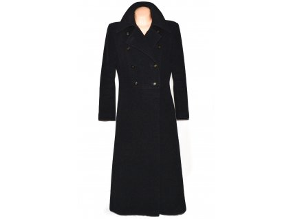 Vlněný (75%) dámský dlouhý šedočerný kabát (vlna, kašmír) XL