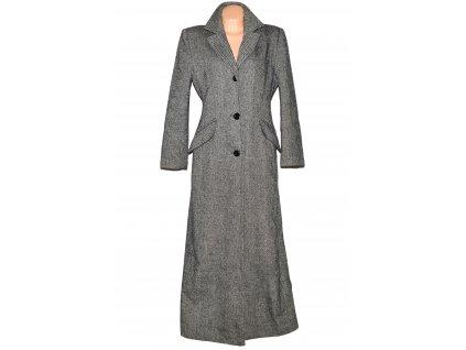Vlněný (80%) dlouhý černobílý kabát Háta 40