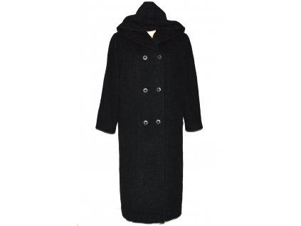 Vlněný (80%) dámský dlouhý šedočerný kabát s kapucí XXL