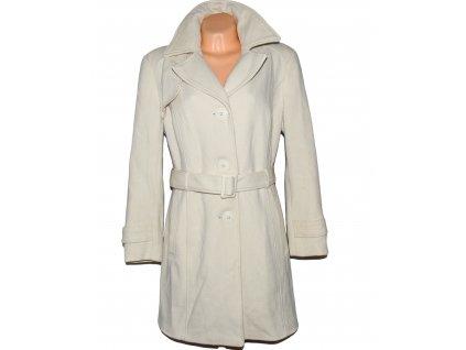 Vlněný (70%) dámský bílý kabát s páskem C&A 18/44