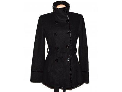 Vlněný (70%) dámský černý kabát s páskem KRISP L