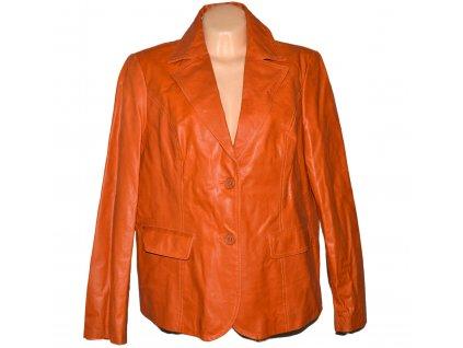 KOŽENÉ dámské oranžové měkké sako XXL