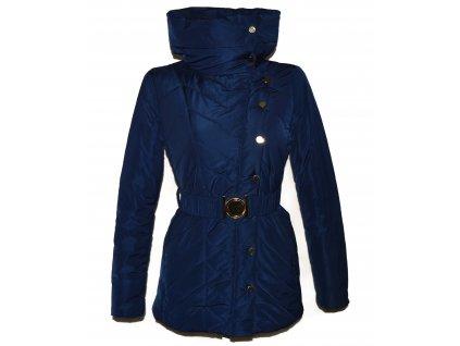 Dámský modrý prošívaný zimní kabát s páskem GLO-STORY S