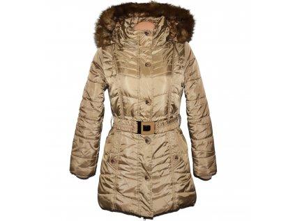 Dámský prošívaný zlatý zimní kabát s páskem a kapucí Nature M