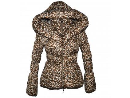 Dámský leopardí prošívaný kabát s kapucí XS/S