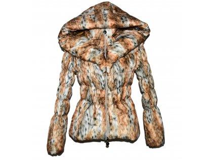 Dámský hnědý prošívaný kabát s kapucí S