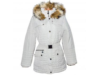 Dámský bílý prošívaný kabát s páskem a kapucí C&A 20/46