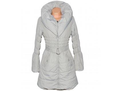 Dámský prošívaný šedý kabát s páskem a límcem ORSAY 40
