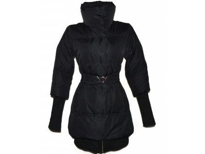 Péřový dámský prošívaný černý kabát s páskem AMISU 36