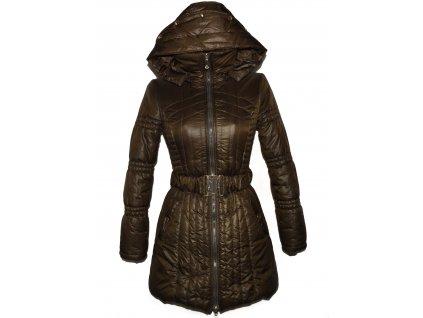 Dámský hnědý prošívaný zimní kabát s páskem a kapucí MissGrace S