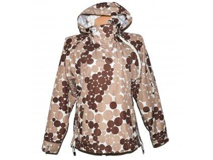Lyžařská dámská hnědo-béžová puntíkovaná bunda, šikmé zapínání ROXY L