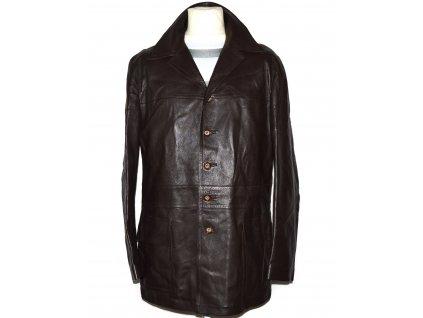 KOŽENÝ pánský hnědý měkký kabát L