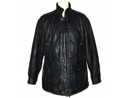 KOŽENÁ pánská černá měkká bunda na zip a cvoky St. Bernard XL