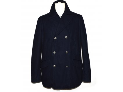 Vlněný (60%) pánský tmavě modrý zateplený kabát Ponte of Florence XL