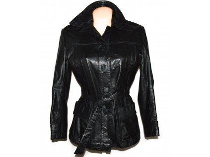 KOŽENÝ dámský černý měkký kabát s páskem 40
