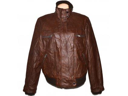 KOŽENÁ dámská hnědá měkká bunda na zip Ellos