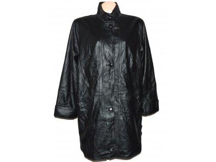 KOŽENÝ dámský černý měkký kabát na zip XXL+