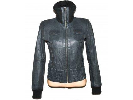 KOŽENÁ dámská šedá měkká bunda na zip VERO MODA M