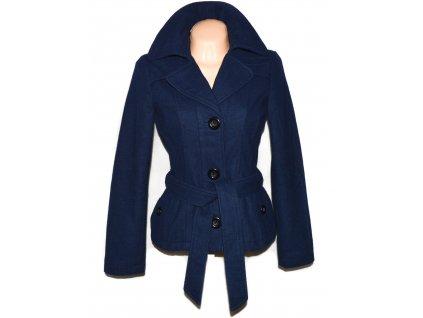 Vlněný (55%) dámský modrý kabát s páskem VERO MODA S