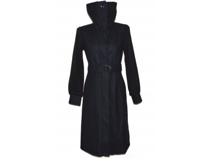 Vlněný dámský dlouhý kabát s páskem NEXT 10/38