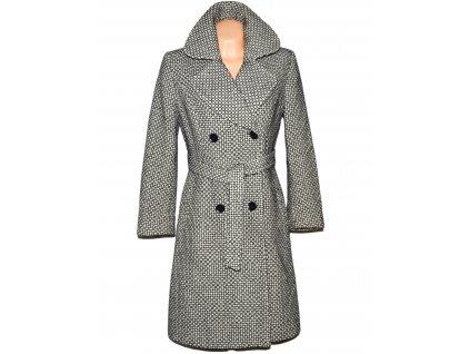 Vlněný (80%) dámský dlouhý černobílý kabát s páskem Yves Tanguy 10/38