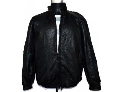 KOŽENÁ pánská černá zateplená bunda na zip XL
