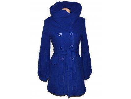 Vlněný (60%) dámský modrý kabát s páskem YOU S