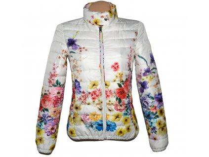 Dámská bílá květovaná prošívaná bunda na zip AMISU 34