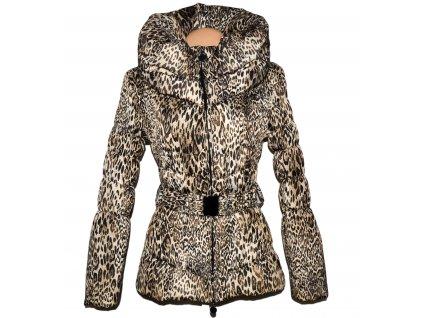 Dámský prošívaný leopardí kabát s páskem a límcem S