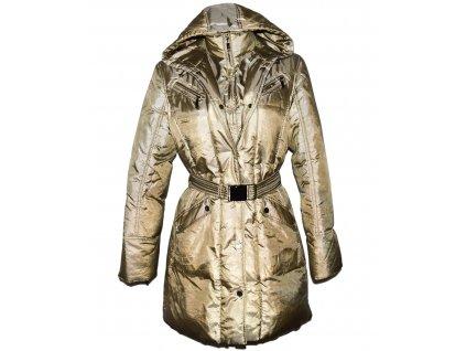 Péřový dámský zlatý kabát s páskem a kapucí M